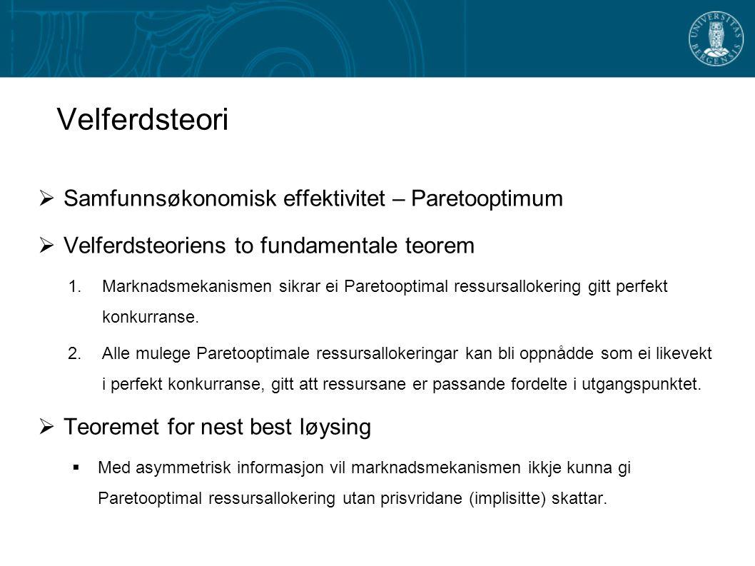 Velferdsteori  Samfunnsøkonomisk effektivitet – Paretooptimum  Velferdsteoriens to fundamentale teorem 1.Marknadsmekanismen sikrar ei Paretooptimal ressursallokering gitt perfekt konkurranse.