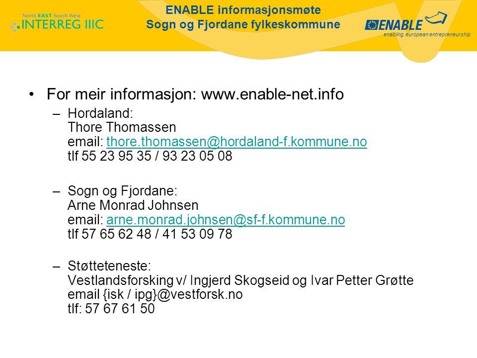 enabling european entrepreneurship ENABLE informasjonsmøte Sogn og Fjordane fylkeskommune For meir informasjon: www.enable-net.info –Hordaland: Thore Thomassen email: thore.thomassen@hordaland-f.kommune.no tlf 55 23 95 35 / 93 23 05 08thore.thomassen@hordaland-f.kommune.no –Sogn og Fjordane: Arne Monrad Johnsen email: arne.monrad.johnsen@sf-f.kommune.no tlf 57 65 62 48 / 41 53 09 78arne.monrad.johnsen@sf-f.kommune.no –Støtteteneste: Vestlandsforsking v/ Ingjerd Skogseid og Ivar Petter Grøtte email {isk / ipg}@vestforsk.no tlf: 57 67 61 50