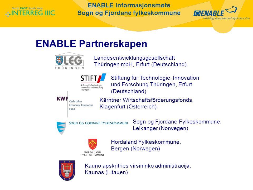 enabling european entrepreneurship ENABLE informasjonsmøte Sogn og Fjordane fylkeskommune ENABLE Partnerskapen Landesentwicklungsgesellschaft Thüringe