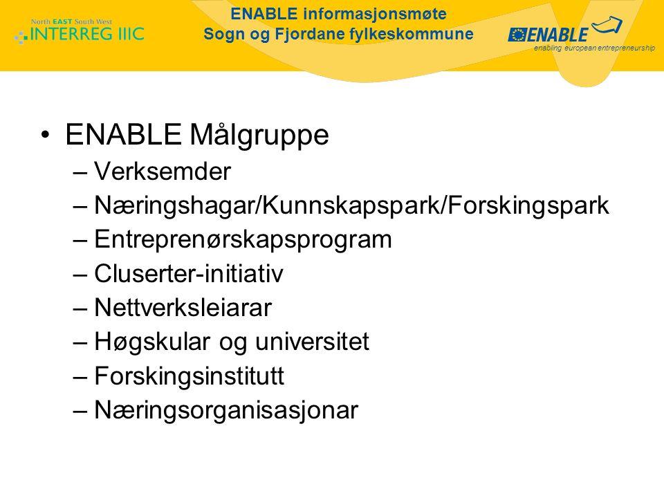 enabling european entrepreneurship ENABLE informasjonsmøte Sogn og Fjordane fylkeskommune ENABLE Prosjekt –Må involvere minst 2 regionar Thueringen, Carinthia, Hordaland/S&Fj, (Kaunas) –Eingenfinansiering 50 % for norske partnerar –Max.