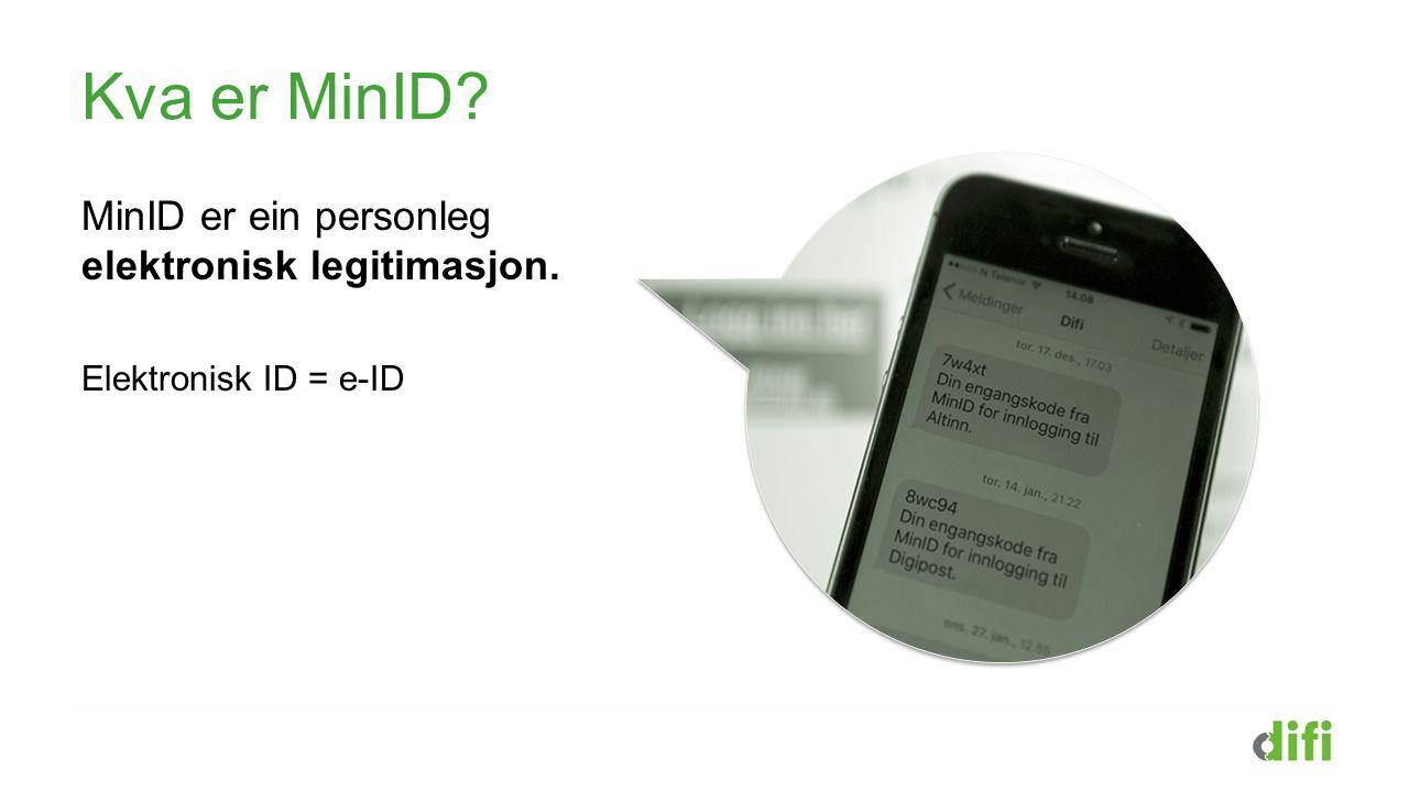 Kva er MinID MinID er ein personleg elektronisk legitimasjon. Elektronisk ID = e-ID