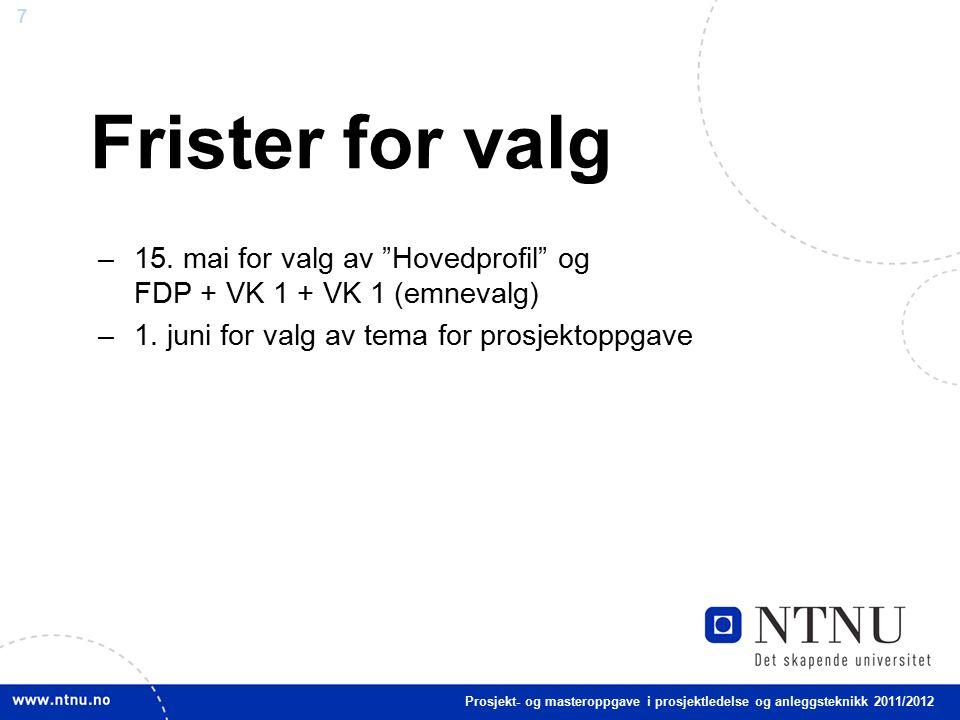 7 Frister for valg –15. mai for valg av Hovedprofil og FDP + VK 1 + VK 1 (emnevalg) –1.