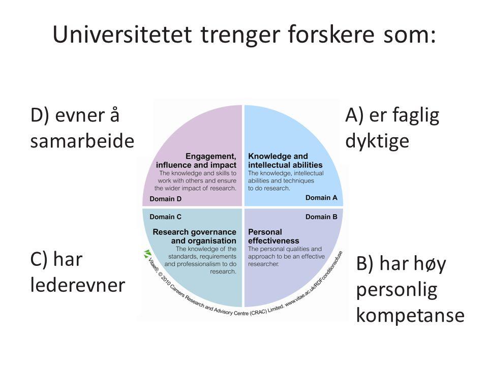 Universitetet trenger forskere som: A) er faglig dyktige B) har høy personlig kompetanse C) har lederevner D) evner å samarbeide