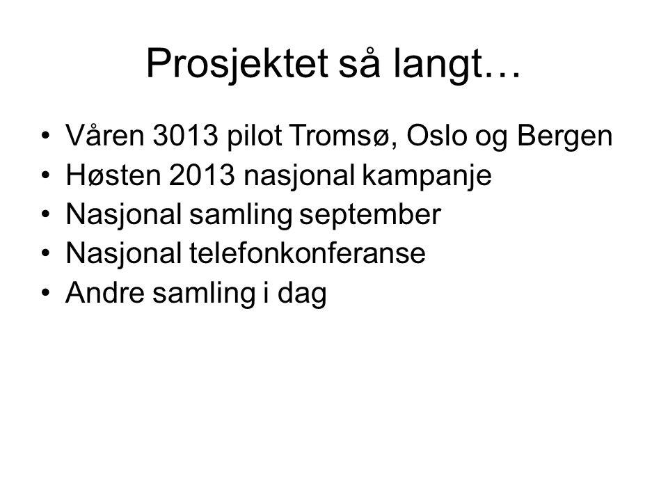 Prosjektet så langt… Våren 3013 pilot Tromsø, Oslo og Bergen Høsten 2013 nasjonal kampanje Nasjonal samling september Nasjonal telefonkonferanse Andre samling i dag