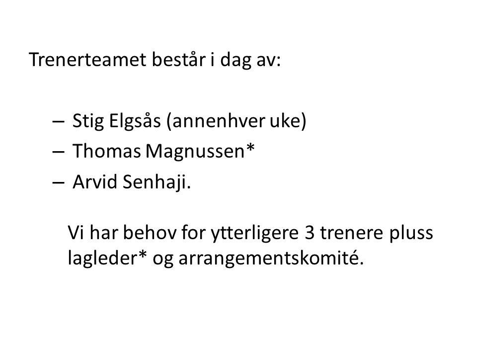 Trenerteamet består i dag av: – Stig Elgsås (annenhver uke) – Thomas Magnussen* – Arvid Senhaji.