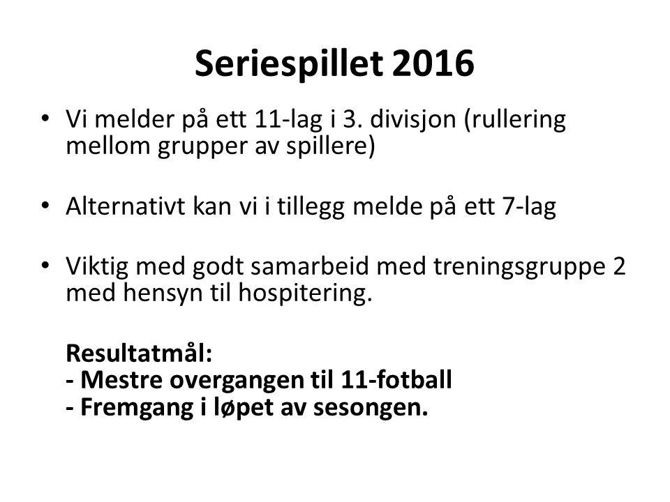 Seriespillet 2016 Vi melder på ett 11-lag i 3.