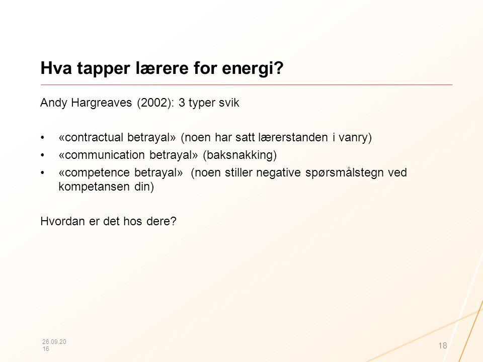 Hva tapper lærere for energi? Andy Hargreaves (2002): 3 typer svik «contractual betrayal» (noen har satt lærerstanden i vanry) «communication betrayal