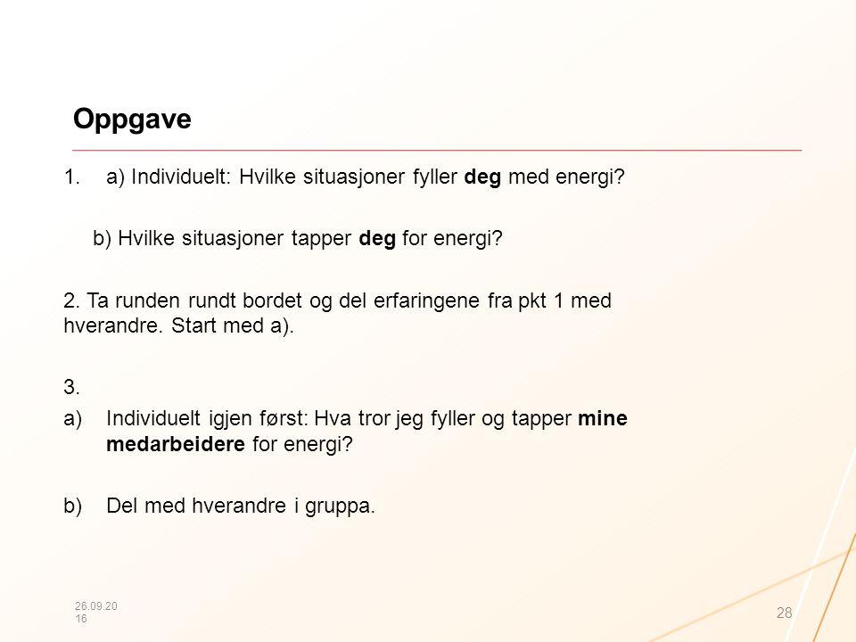 Oppgave 1.a) Individuelt: Hvilke situasjoner fyller deg med energi? b) Hvilke situasjoner tapper deg for energi? 2. Ta runden rundt bordet og del erfa