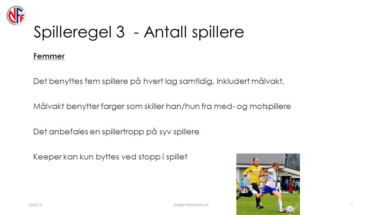 Spilleregel 3 - Antall spillere Femmer Det benyttes fem spillere på hvert lag samtidig, inkludert målvakt.