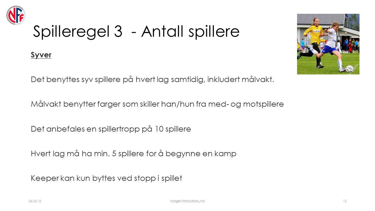 Spilleregel 3 - Antall spillere Syver Det benyttes syv spillere på hvert lag samtidig, inkludert målvakt.