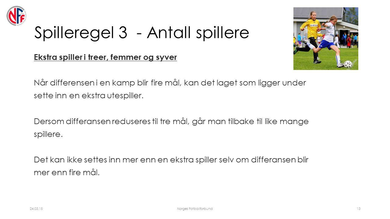 Spilleregel 3 - Antall spillere Ekstra spiller i treer, femmer og syver Når differensen i en kamp blir fire mål, kan det laget som ligger under sette inn en ekstra utespiller.