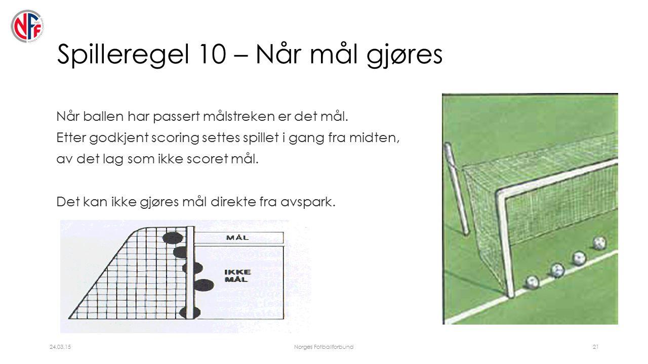 Spilleregel 10 – Når mål gjøres Når ballen har passert målstreken er det mål.