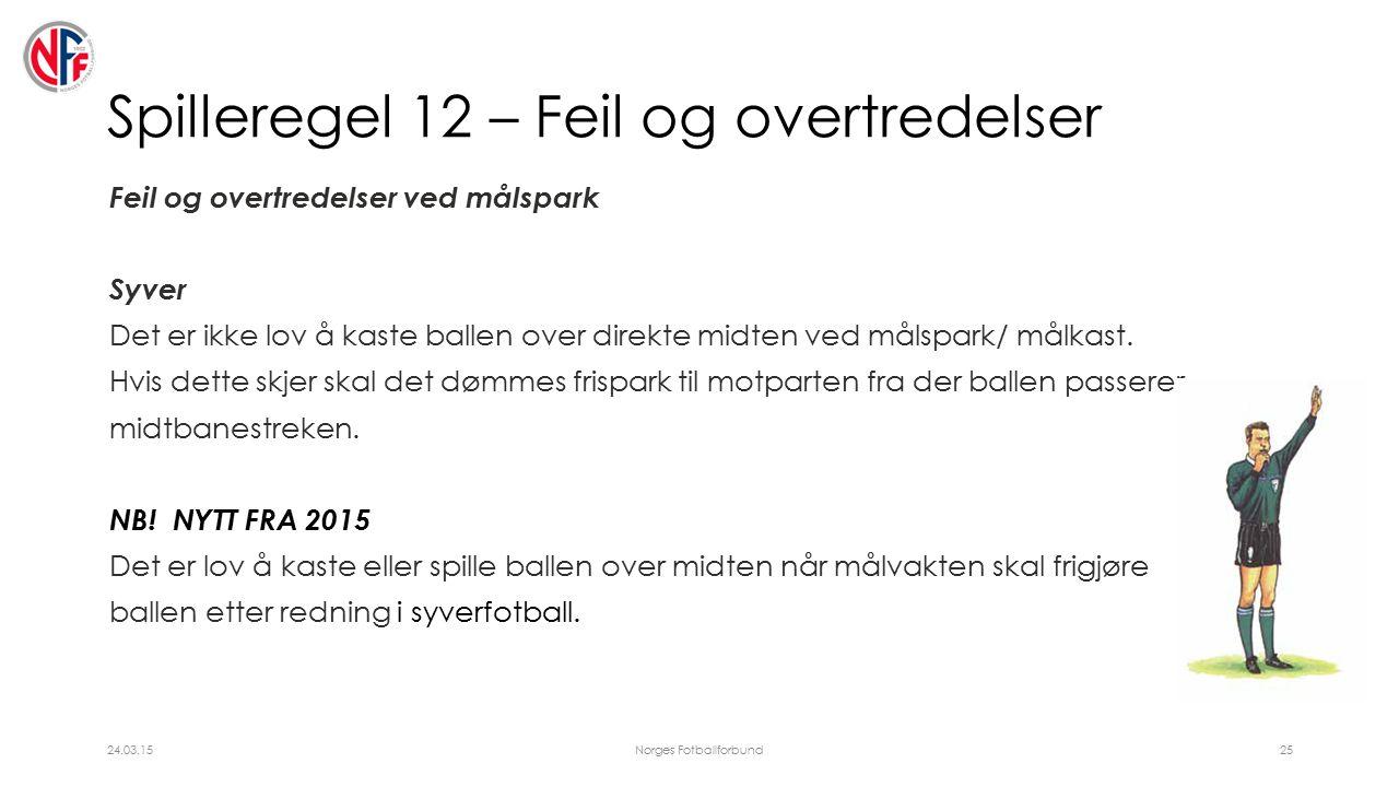 Spilleregel 12 – Feil og overtredelser Feil og overtredelser ved målspark Syver Det er ikke lov å kaste ballen over direkte midten ved målspark/ målkast.