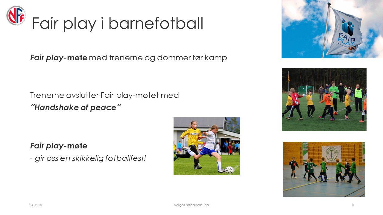 Fair play i barnefotball Fair play- møte med trenerne og dommer før kamp Trenerne avslutter Fair play-møtet med Handshake of peace Fair play- møte - gir oss en skikkelig fotballfest.