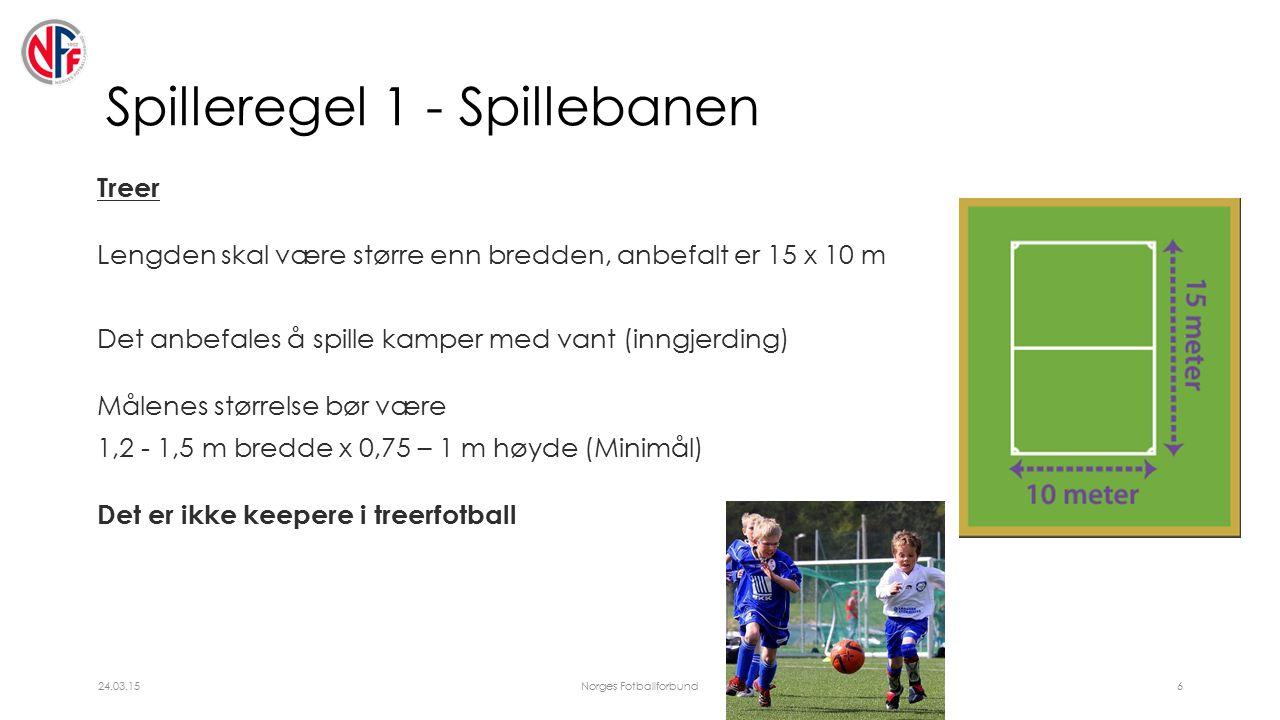 Spilleregel 1 - Spillebanen Treer Lengden skal være større enn bredden, anbefalt er 15 x 10 m Det anbefales å spille kamper med vant (inngjerding) Målenes størrelse bør være 1,2 - 1,5 m bredde x 0,75 – 1 m høyde (Minimål) Det er ikke keepere i treerfotball 24.03.15Norges Fotballforbund6