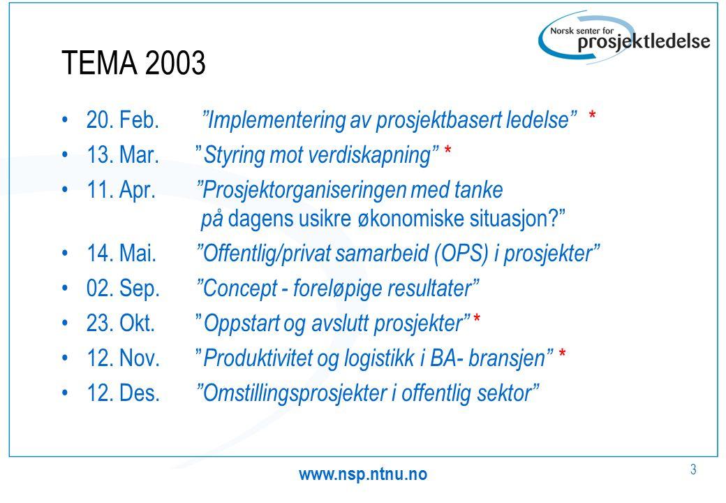 www.nsp.ntnu.no 3 TEMA 2003 20. Feb. Implementering av prosjektbasert ledelse * 13.