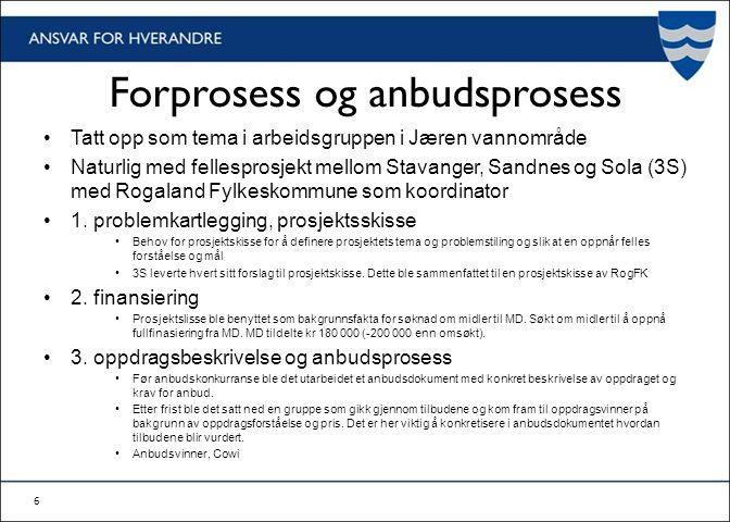 Forprosess og anbudsprosess Tatt opp som tema i arbeidsgruppen i Jæren vannområde Naturlig med fellesprosjekt mellom Stavanger, Sandnes og Sola (3S) med Rogaland Fylkeskommune som koordinator 1.