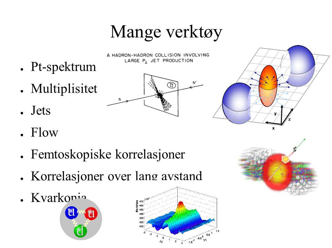 Mange verktøy ● Pt-spektrum ● Multiplisitet ● Jets ● Flow ● Femtoskopiske korrelasjoner ● Korrelasjoner over lang avstand ● Kvarkonia
