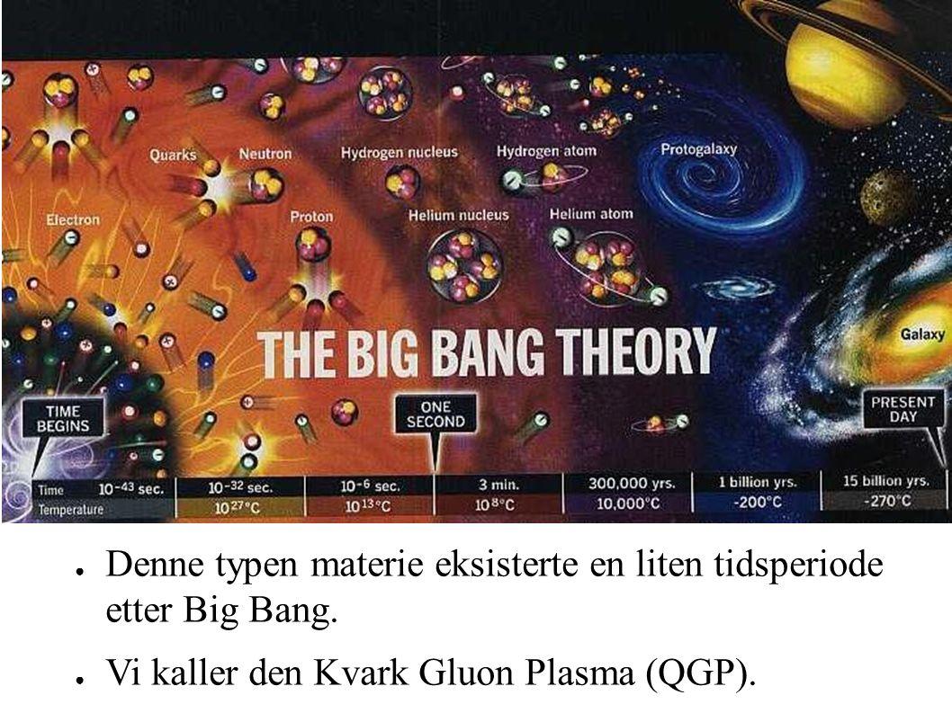 ● Denne typen materie eksisterte en liten tidsperiode etter Big Bang.