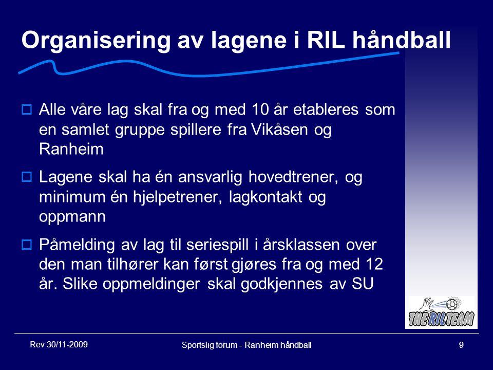 Sportslig forum - Ranheim håndball9 Organisering av lagene i RIL håndball  Alle våre lag skal fra og med 10 år etableres som en samlet gruppe spiller