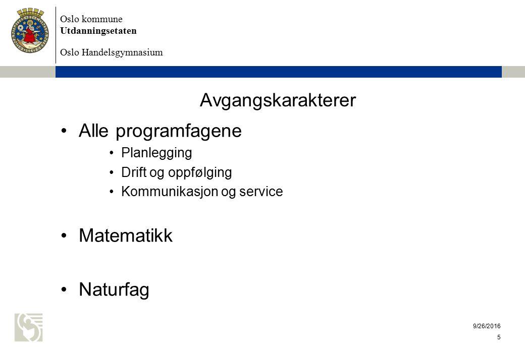 Oslo kommune Utdanningsetaten Oslo Handelsgymnasium 9/26/2016 5 Avgangskarakterer Alle programfagene Planlegging Drift og oppfølging Kommunikasjon og service Matematikk Naturfag