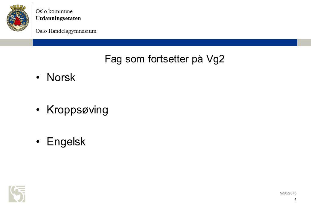 Oslo kommune Utdanningsetaten Oslo Handelsgymnasium 9/26/2016 6 Fag som fortsetter på Vg2 Norsk Kroppsøving Engelsk
