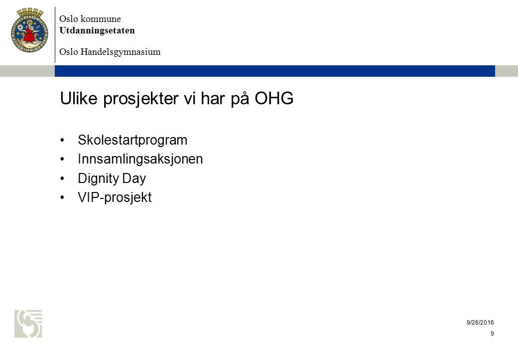 Oslo kommune Utdanningsetaten Oslo Handelsgymnasium Ulike prosjekter vi har på OHG Skolestartprogram Innsamlingsaksjonen Dignity Day VIP-prosjekt 9/26/2016 9