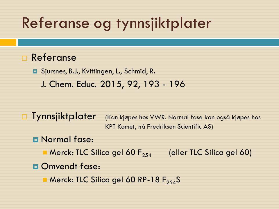 Referanse og tynnsjiktplater  Referanse  Sjursnes, B.J., Kvittingen, L., Schmid, R. J. Chem. Educ. 2015, 92, 193 - 196  Tynnsjiktplater (Kan kjøpes