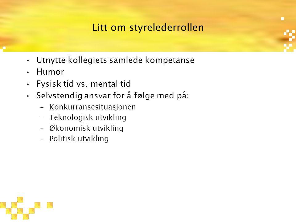 Litt om styrelederrollen Utnytte kollegiets samlede kompetanse Humor Fysisk tid vs.