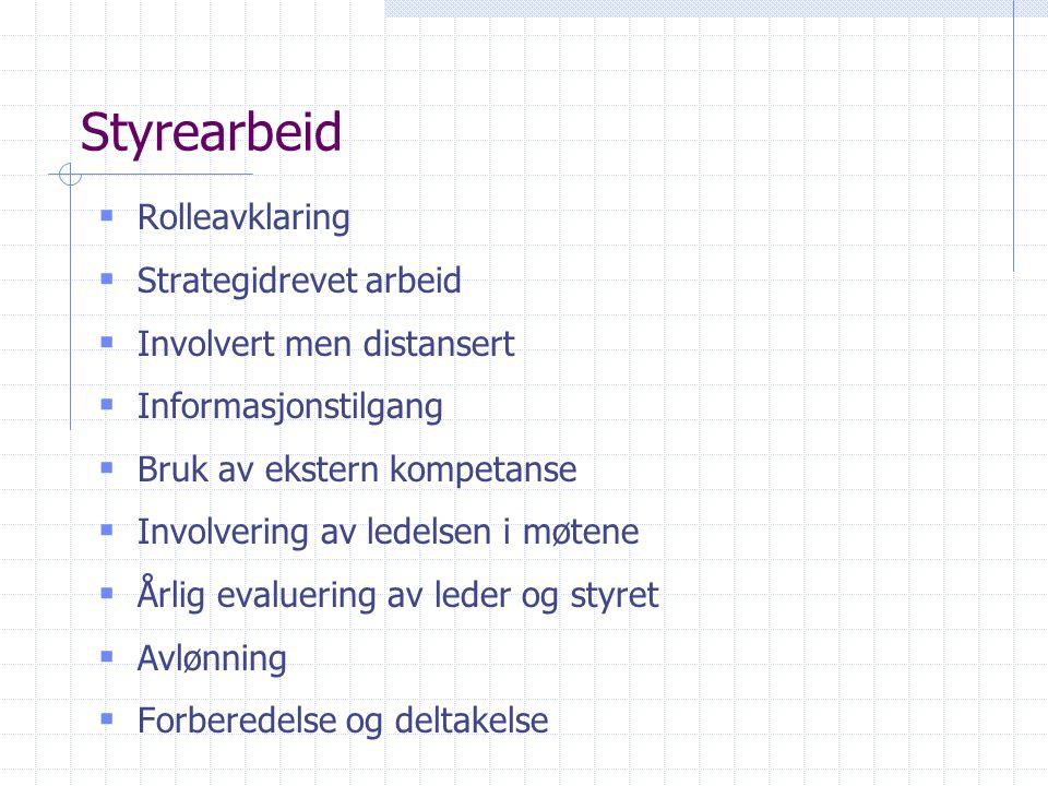 Styrearbeid  Rolleavklaring  Strategidrevet arbeid  Involvert men distansert  Informasjonstilgang  Bruk av ekstern kompetanse  Involvering av le