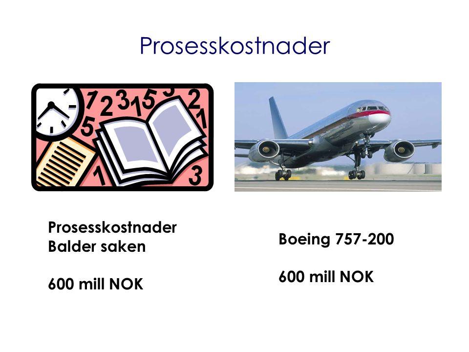Prosesskostnader Balder saken 600 mill NOK Boeing 757-200 600 mill NOK Prosesskostnader
