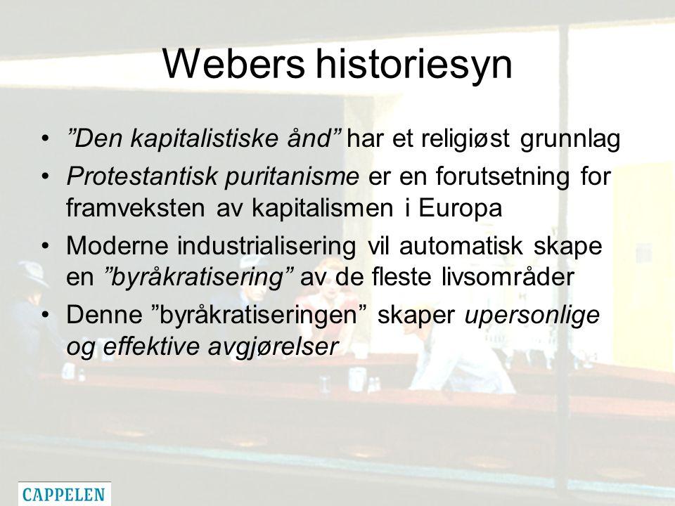 Webers historiesyn Den kapitalistiske ånd har et religiøst grunnlag Protestantisk puritanisme er en forutsetning for framveksten av kapitalismen i Europa Moderne industrialisering vil automatisk skape en byråkratisering av de fleste livsområder Denne byråkratiseringen skaper upersonlige og effektive avgjørelser