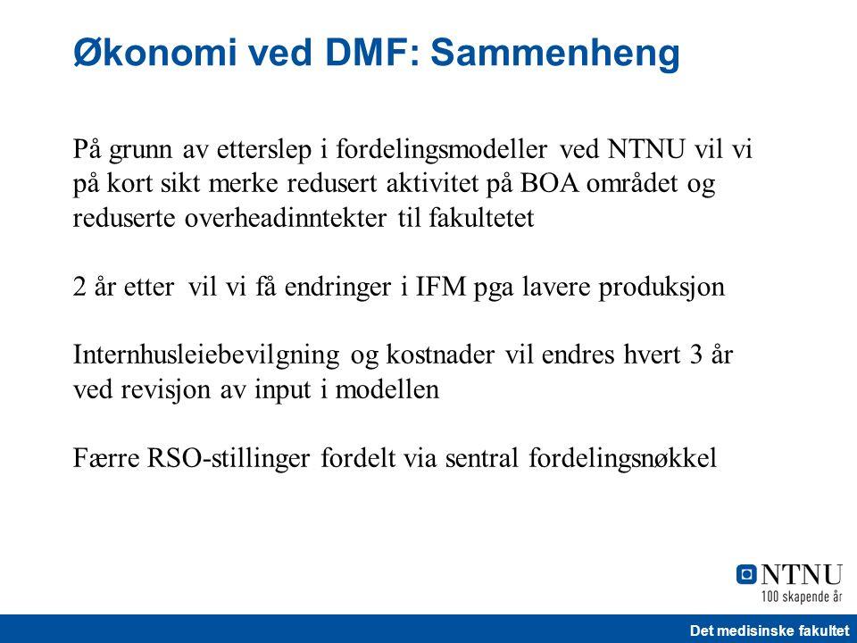 Det medisinske fakultet Økonomi ved DMF: Sammenheng På grunn av etterslep i fordelingsmodeller ved NTNU vil vi på kort sikt merke redusert aktivitet p
