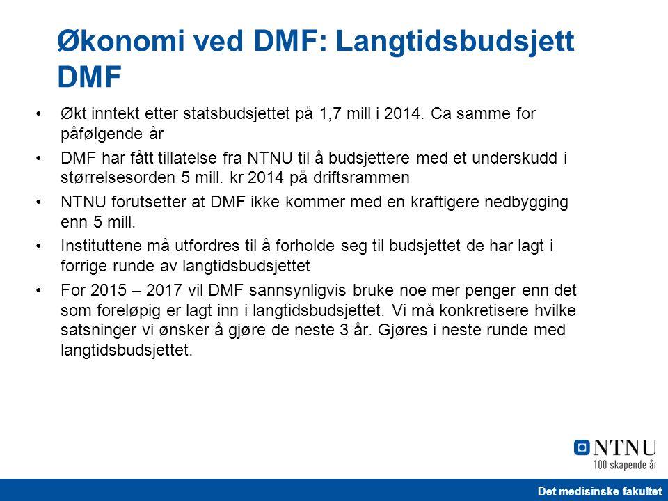 Det medisinske fakultet Økt inntekt etter statsbudsjettet på 1,7 mill i 2014. Ca samme for påfølgende år DMF har fått tillatelse fra NTNU til å budsje