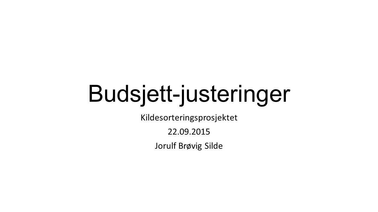 Budsjett-justeringer Kildesorteringsprosjektet 22.09.2015 Jorulf Brøvig Silde
