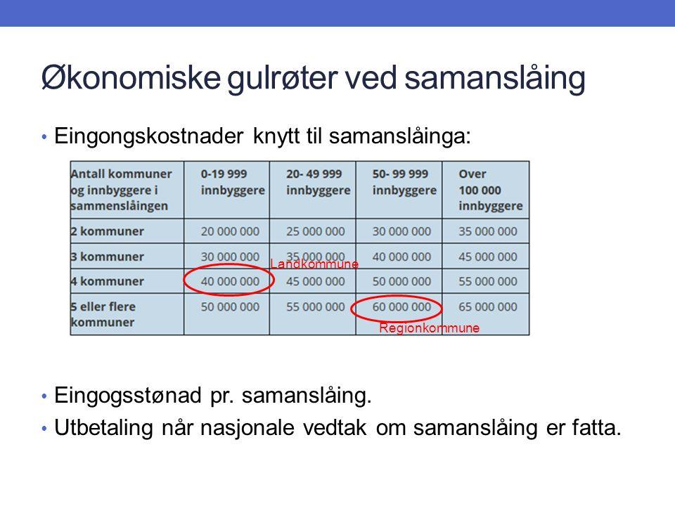 Økonomiske gulrøter ved samanslåing Eingongskostnader knytt til samanslåinga: Eingogsstønad pr.