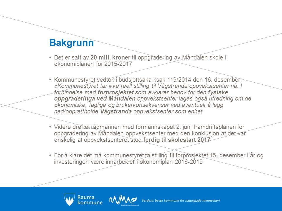Bakgrunn Det er satt av 20 mill. kroner til oppgradering av Måndalen skole i økonomiplanen for 2015-2017 Kommunestyret vedtok i budsjettsaka ksak 119/