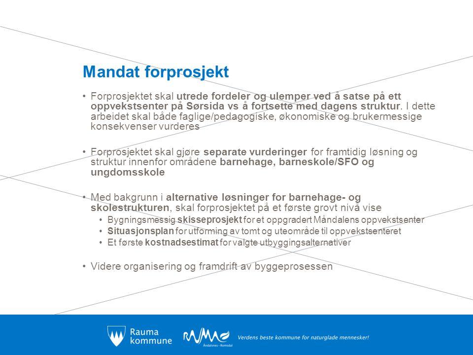 Mandat forprosjekt Forprosjektet skal utrede fordeler og ulemper ved å satse på ett oppvekstsenter på Sørsida vs å fortsette med dagens struktur. I de