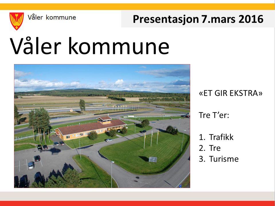 Våler kommune Presentasjon 7.mars 2016 «ET GIR EKSTRA» Tre T'er: 1.Trafikk 2.Tre 3.Turisme