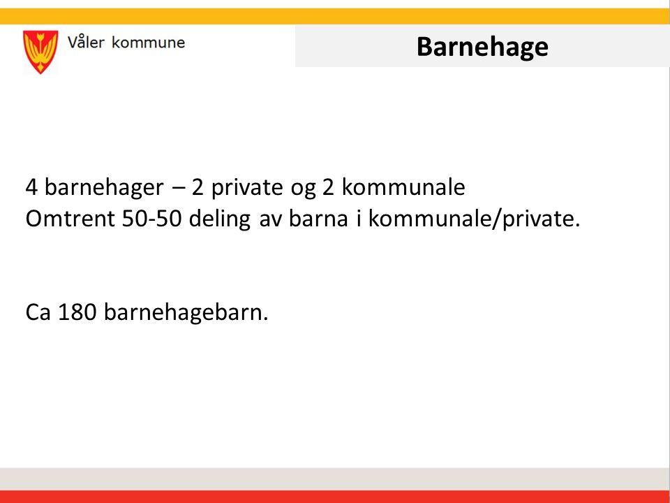 Barnehage 4 barnehager – 2 private og 2 kommunale Omtrent 50-50 deling av barna i kommunale/private.