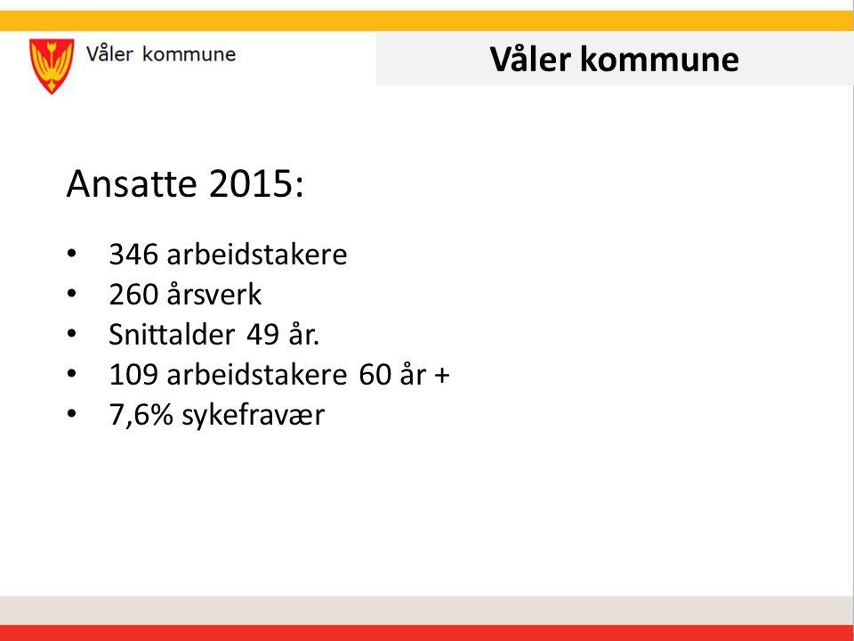 Våler kommune Ansatte 2015: 346 arbeidstakere 260 årsverk Snittalder 49 år.