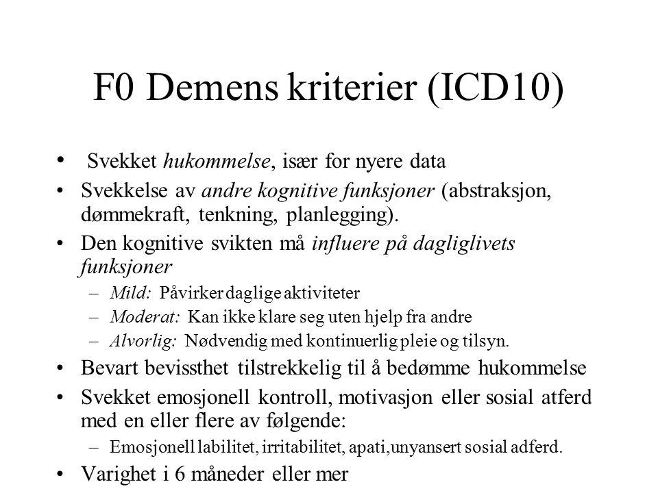 F0 Demens kriterier (ICD10) Svekket hukommelse, især for nyere data Svekkelse av andre kognitive funksjoner (abstraksjon, dømmekraft, tenkning, planlegging).