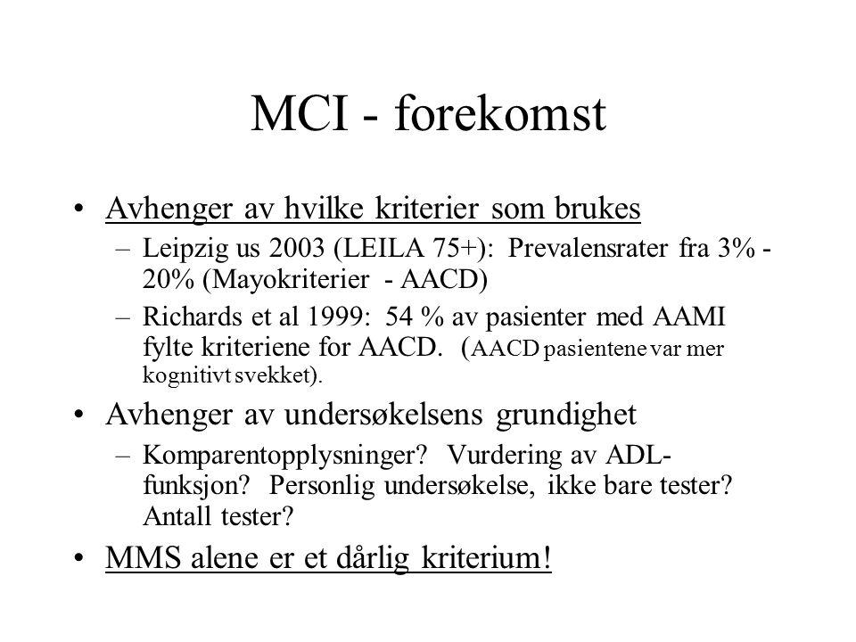 MCI - forekomst Avhenger av hvilke kriterier som brukes –Leipzig us 2003 (LEILA 75+): Prevalensrater fra 3% - 20% (Mayokriterier - AACD) –Richards et al 1999: 54 % av pasienter med AAMI fylte kriteriene for AACD.