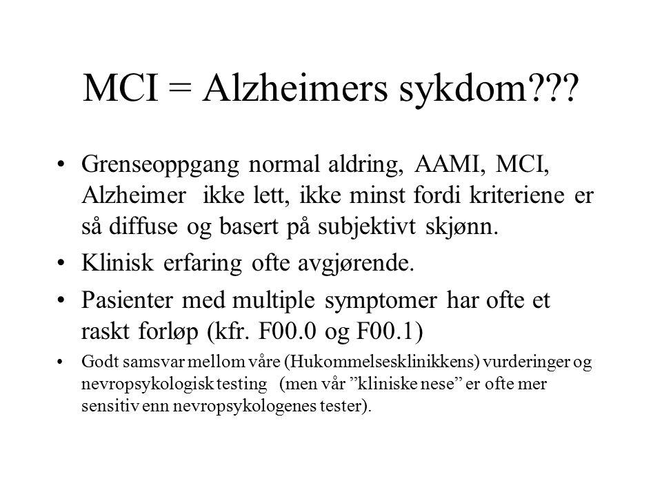 MCI = Alzheimers sykdom .