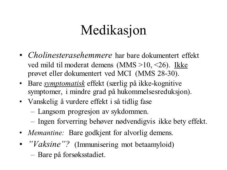 Medikasjon Cholinesterasehemmere har bare dokumentert effekt ved mild til moderat demens (MMS >10, <26).