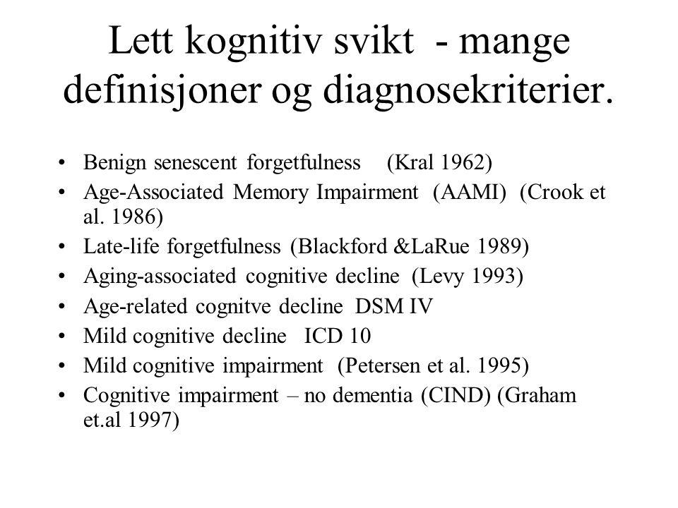 Lett kognitiv svikt - mange definisjoner og diagnosekriterier.