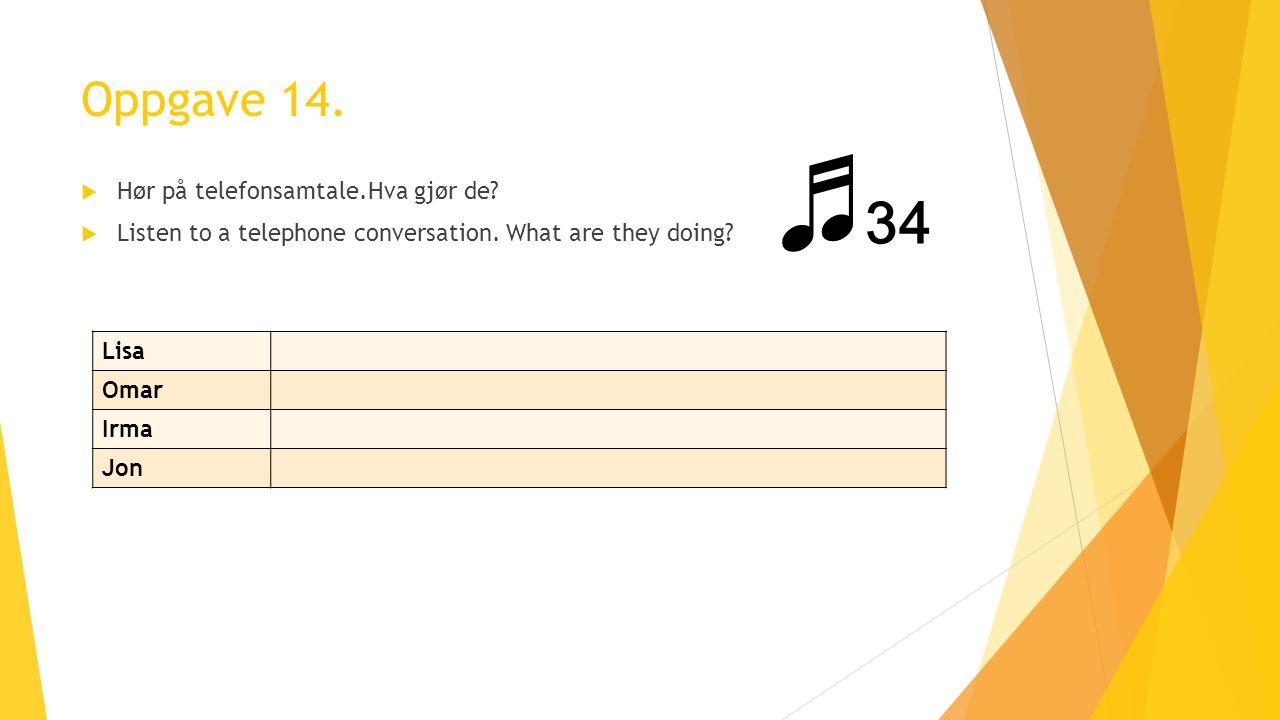 Oppgave 14.  Hør på telefonsamtale.Hva gjør de.  Listen to a telephone conversation.
