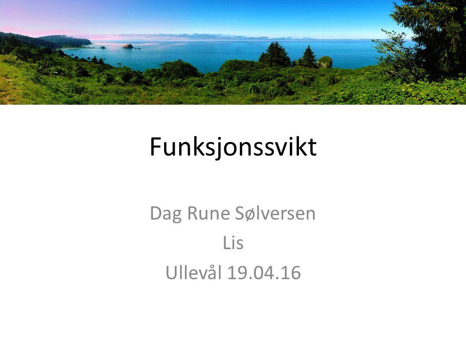 Funksjonssvikt Dag Rune Sølversen Lis Ullevål 19.04.16
