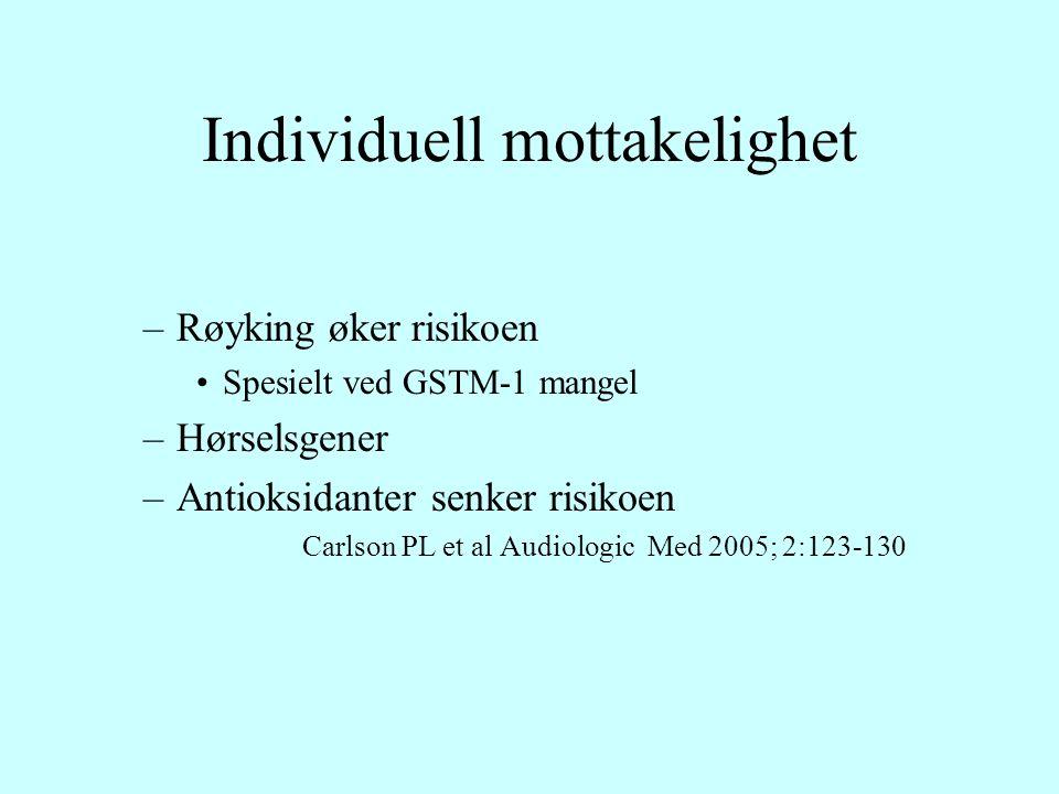 Individuell mottakelighet –Røyking øker risikoen Spesielt ved GSTM-1 mangel –Hørselsgener –Antioksidanter senker risikoen Carlson PL et al Audiologic Med 2005; 2:123-130