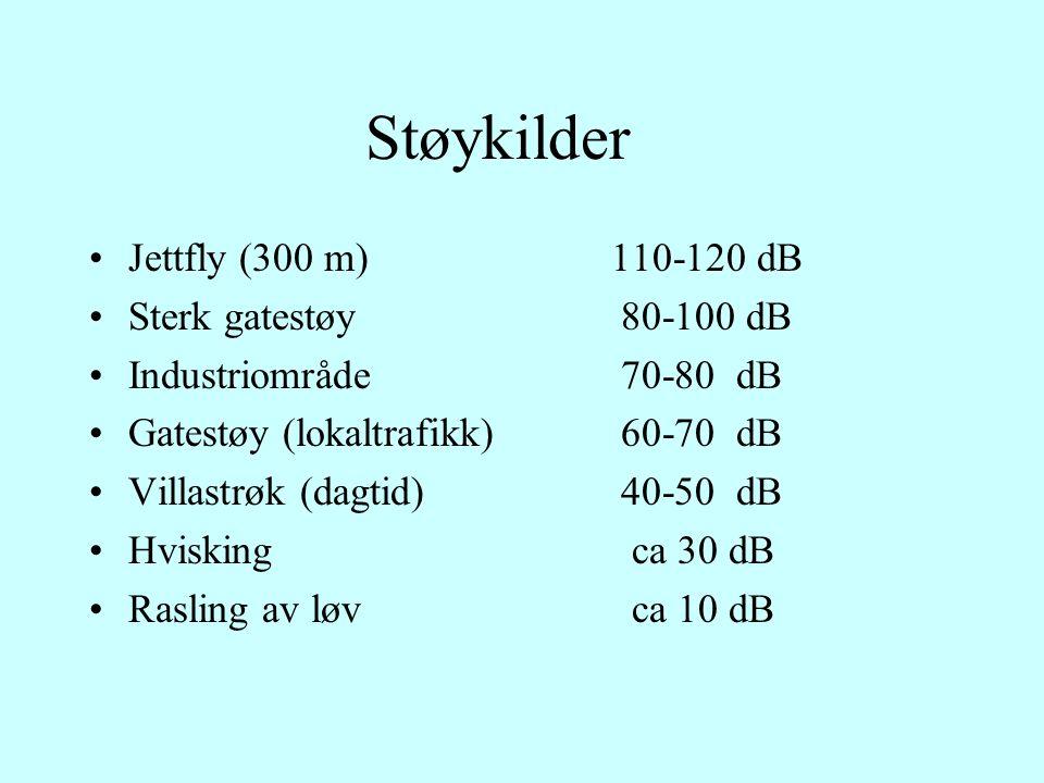 Støykilder Jettfly (300 m)110-120 dB Sterk gatestøy 80-100 dB Industriområde 70-80 dB Gatestøy (lokaltrafikk) 60-70 dB Villastrøk (dagtid) 40-50 dB Hvisking ca 30 dB Rasling av løv ca 10 dB